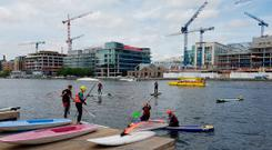 Water sport enthuasiasts at the River Liffey