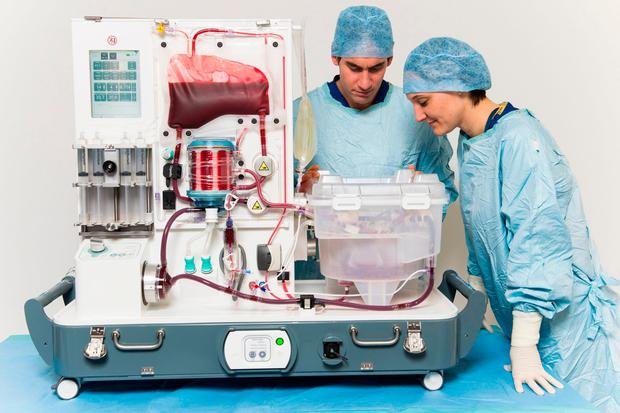 "Medics with a normothermic machine perfusion device which keeps a liver ""alive"" for up to 24 hours before a transplant. Scientists have said that it could have a ""transformative effect"" on organ waiting lists"