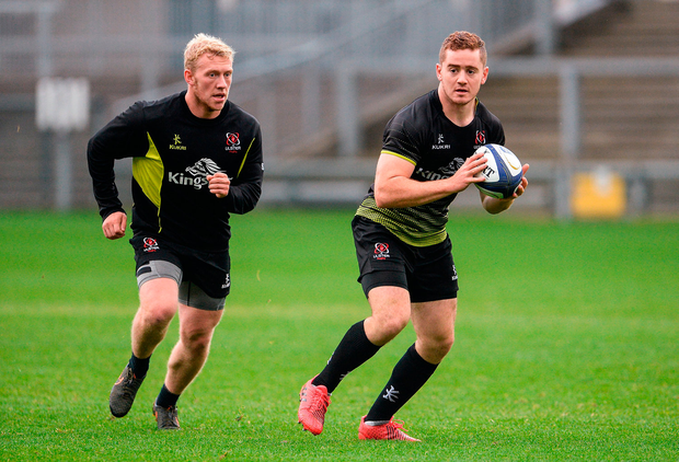 Stuart Olding (left) and Paddy Jackson have had their contracts terminated by Ulster Rugby and the IRFU. Picture: Sportsfile