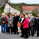 Mourners gather at 'Big Tom' McBride's public reposal at Oram Community Centre, Castleblayney. Photos: Steve Humphreys