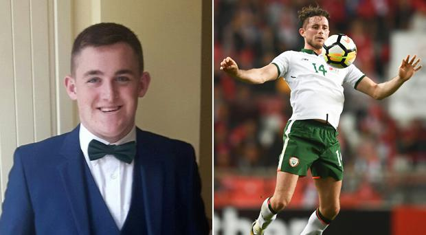 Alan Browne (right) has donated the jersey he wore on his Irish debut to the Jack O'Driscoll fund