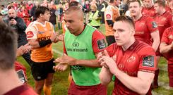 Munster players, including Simon Zebo, after the Guinness PRO14 Round 20 match between Toyota Cheetahs and Munster at Toyota Stadium in Bloemfontein, South Africa last week. Photo by Johan Pretorius/Sportsfile