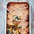 Kale, leek, mushroom and ricotta strata from Grow Cook Nourish by Darina Allen, with photography by Clare Winfield, published by Kyle at £30