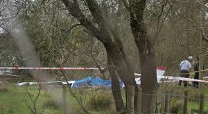 Emergency services at the scene , after a light aircraft fire at Nutts Corner, County Antrim / Credit: Pacemaker