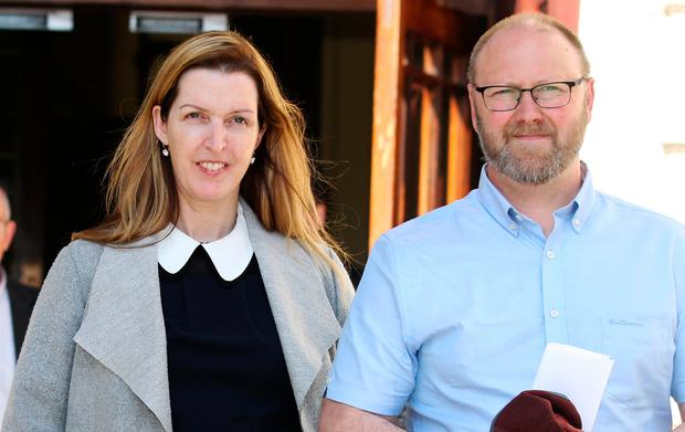 Vicky Phelan with husband, Jim of Annacotty, Co Limerick leaving the High Court in Dublin yesterday after the first day of the hearing. Photo: Courtpix