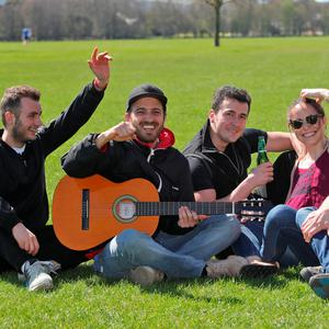 Horacio Diaz, Gabriel Soubhia, Andrerew Maren, Valentina Bincheira and Daniel Haruta all English students, living in Dublin pictured this afternoon in the Phoenix Park enjoying the first heat and sunshine of 2018. Picture Colin Keegan, Collins Dublin.