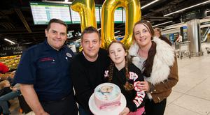 Dublin Airport Welcomes Back First Baby Born In Terminal 1 Dublin Airport Fire Officer, Ciaran Foster with Tom & Carey Ingwell and Catherine Hutson.