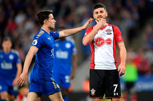 Shane Long of Southampton reacts during the Premier League match between Leicester City and Southampton at The King Power Stadium