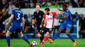 Southampton's Charlie Austin (centre) in action. Photo: Nick Potts/PA Wire
