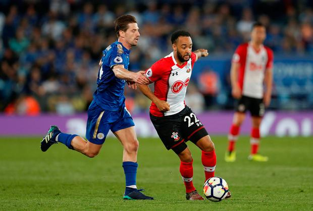 Southampton's Nathan Redmond in action with Leicester City's Adrien Silva. Photo: Matthew Childs/Action Images via Reuters