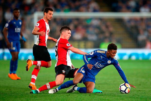 Leicester City's Demarai Gray (right) and Southampton's Pierre-Emile Hojbjerg battle for the ball. Photo: Nick Potts/PA Wire