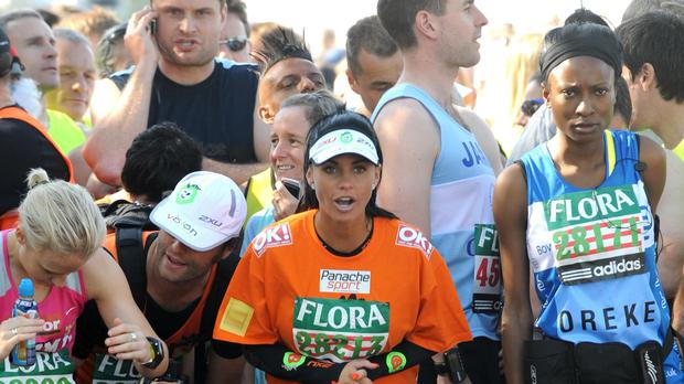 Katie Price at the start of the 2009 Flora London Marathon (Zak Hussein/PA)