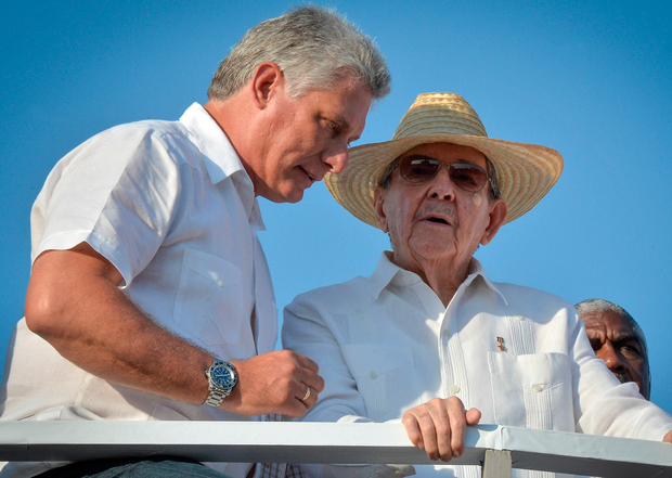 Miguel Diaz-Canel (left) with Raúl Castro. Photo: Getty Images