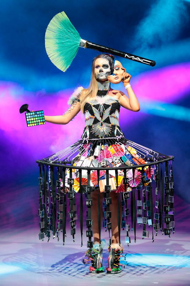 Student Benita Wrochna from Ursuline Community School, Thurles, Co Tipperary pictured wearing a creation fashioned from junk and recycled materials in rehearsals ahead of the Grand Final of Bank of Ireland Junk Kouture 2018 at the 3 Arena Dublin