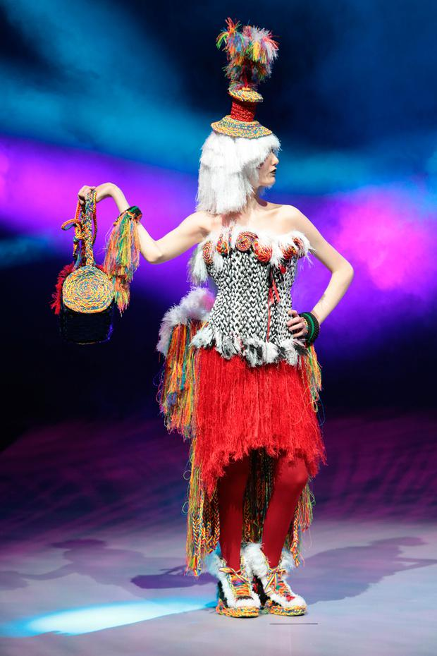 Student Tiegan Harris from Sancta Maria School, Westmeath, pictured wearing a creation fashioned from junk and recycled materials in rehearsals ahead of the Grand Final of Bank of Ireland Junk Kouture 2018 at the 3 Arena Dublin