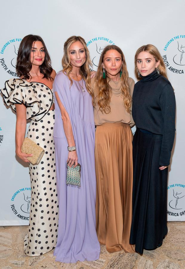 (L-R) Candice Miller, Marcella Hymowitz, Ashley Olsen and Mary-Kate Olsen attend the Youth America Grand Prix at David H. Koch Theater at Lincoln Center on April 19, 2018 in New York City. (Photo by Mark Sagliocco/Getty Images)