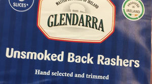The 'produced in Ireland' logo on the Iceland rashers, which are from Spain. Pic: Shane McAuliffe