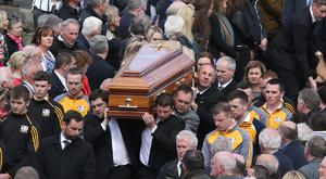 The coffin is carried from St Patricks Church after the funeral of Big Tom in Oram, Co. Monaghan. Picture credit: Damien Eagers