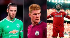 David de Gea, Kevin de Bruyne and Mohamed Salah
