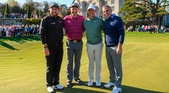 Players from left, Shane Lowry of Ireland, Padraig Harrington of Ireland, Rory McIlroy of Northern Ireland and Paul McGinley of Ireland following the JP McManus Pro-Am Launch at Adare Manor in Adare, Co. Limerick. Photo by Eóin Noonan/Sportsfile