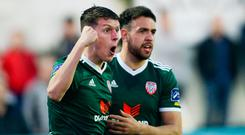 Eoin Toal of Derry City, left, celebrates with Darren Cole after scoring his side's second goal during the SSE Airtricity League Premier Division match between Dundalk and Derry City at Oriel Park in Dundalk, Louth. Photo by Oliver McVeigh/Sportsfile