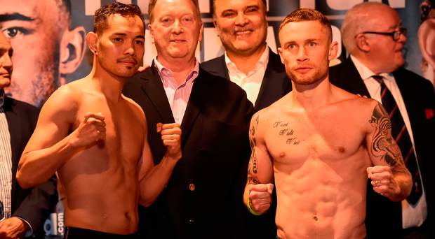 Nonito Donaire (left) and Carl Frampton after weighing in ahead of their bout. Photo: Oliver McVeigh/Sportsfile