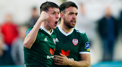 Eoin Toal (left) celebrates with Darren Cole after scoring Derry City's second goal at Oriel Park. Photo: Oliver McVeigh/Sportsfile