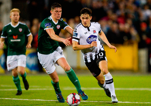 Jamie McGrath of Dundalk in action against Derry City's Eoin Toal Photo: Oliver McVeigh/Sportsfile
