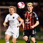 Cork City's Conor McCormack in action against Dylan Watts of Bohemians. Photo: Sam Barnes/Sportsfile