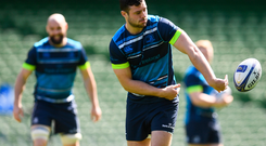 Robbie Henshaw during the Leinster Captain's Run at the Aviva Stadium. Photo: Sportsfile