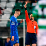 Referee Neil Doyle shows Limerick's Cian Coleman a red card Photo: Harry Murphy/Sportsfile