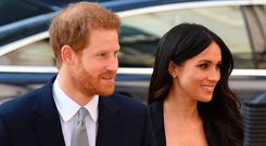 Prince Harry and Meghan Markle arrive at the Australian High Commission in London to attend a reception celebrating the forthcoming Invictus Games Sydney 2018. Photo: Dominic Lipinski/PA Wire