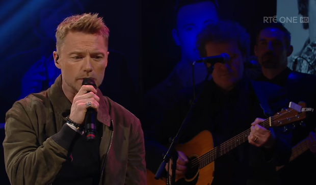 Ronan Keating performed a duet with Lisa McHugh on last night's Late Late Show. Photo: RTE