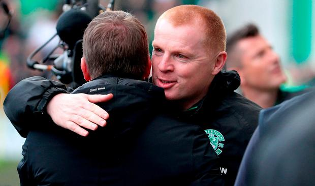 Hibernian manager Neil Lennon hugs Celtic manager Brendan Rodgers before the Ladbrokes Scottish Premiership match at Easter Road