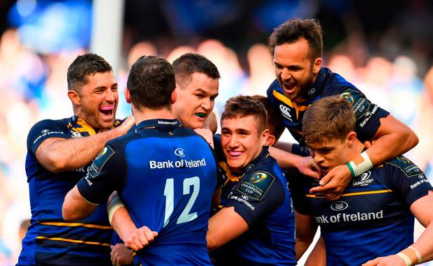 Jonathan Sexton of Leinster celebrates with teammates, from left, Rob Kearney, Robbie Henshaw, Jordan Larmour, Jamison Gibson-Park and Garry Ringrose, after scoring his side's fifth try during the European Rugby Champions Cup Semi-Final match between Leinster Rugby and Scarlets at the Aviva Stadium in Dublin. Photo by Sam Barnes/Sportsfile