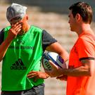 21 April 2018; Simon Zebo and head coach Johann van Graan during the Munster Rugby Captain's Run at the Stade Chaban-Delmas in Bordeaux, France. Photo by Diarmuid Greene/Sportsfile