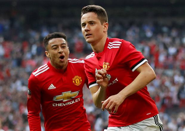 Manchester United's Ander Herrera celebrates scoring their winner