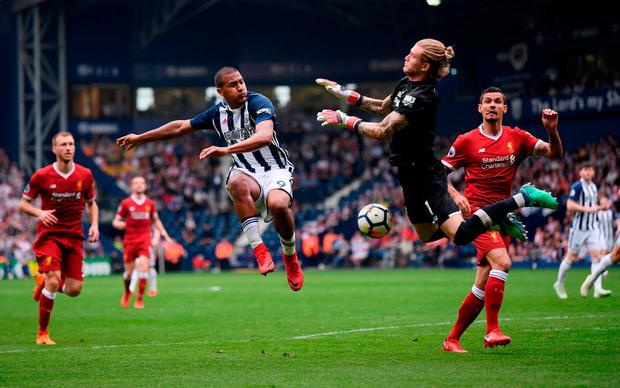 West Brom's Salomon Rondon has his shot saved by Loris Karius during yesterday's Premier League match at The Hawthorns. Photo: Laurence Griffiths/Getty Images