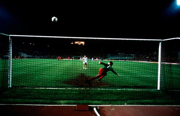 Francesco Graziani blasts his shot over Bruce Grobbelaar's crossbar during the penalty shootout in the 1984 European Cup final. Mandatory Credit: Allsport UK/ALLSPORT