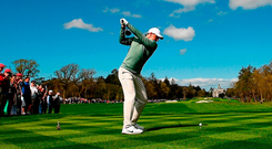 Rory McIlroy plays his tee shot on the ninth at Adare Manor on Friday. Photo: Eoin Noonan