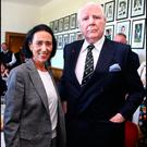 Back home: Anthony O'Reilly and his wife Chryss at the opening of the O'Reilly Room at Old Belvedere Rugby Club yesterday. Photo: David Conachy