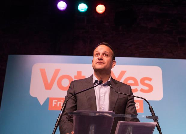 Taoiseach Leo Varadkar speaks at the launch of Fine Gael's 'Vote Yes' campaign in Dublin. Photo: Fergal Phillips