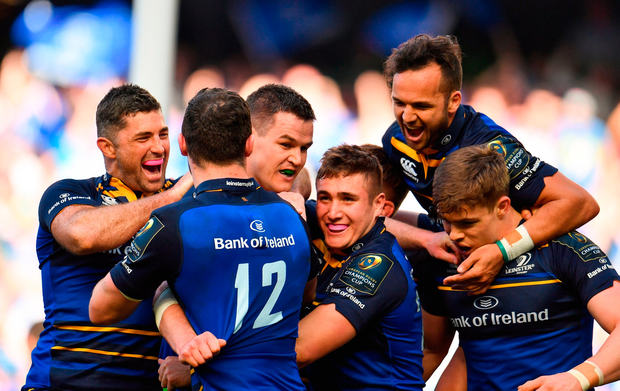 Jonathan Sexton of Leinster celebrates with teammates after victory over Scarlets. Photo: Sportsfile