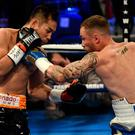 21 April 2018; Carl Frampton, right, in action against Nonito Donaire during their Vacant WBO Interim World Featherweight Championship bout at the SSE Arena in Belfast. Photo by Ramsey Cardy/Sportsfile