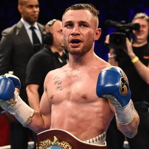 21 April 2018; Carl Frampton celebrates after defeating Nonito Donaire following their Vacant WBO Interim World Featherweight Championship bout at the Boxing in SSE Arena Belfast event in Belfast. Photo by David Fitzgerald/Sportsfile