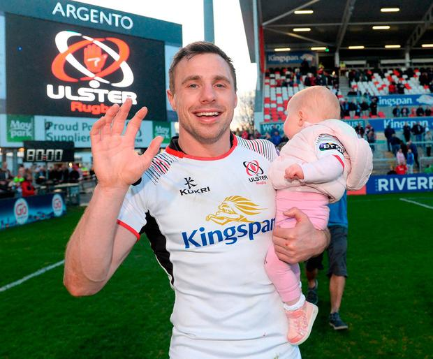 Ulster's Tommy Bowe with his daughter Emma during a farewell walk around the Kingspan Stadium. Photo: Oliver McVeigh/Sportsfile