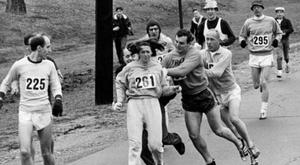 Race director Jock Semple tries to remove Switzer from the Boston Marathon in 1967. CREDIT: BOSTON GLOBE