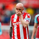 Stoke City's Stephen Ireland looks dejected after the match. Action Images via Reuters/Ed Sykes