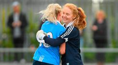 Dublin's Ciara Trant, right, and Nicole Owens celebrate after the Lidl Ladies Football National League Division 1 semi-final match between Dublin and Galway at Coralstown Kinnegad GAA in Kinnegad, Westmeath. Photo by Piaras Ó Mídheach/Sportsfile