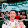 Tommy Bowe of Ulster with his daughter Emma during a farewell walk around the Kingspan Stadium on Saturday. Photo: Sportsfile